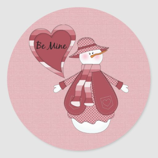 Tarjeta del día de San Valentín del muñeco de Pegatinas Redondas