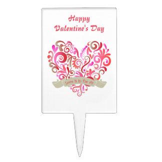 Tarjeta del día de San Valentín del oro del rosa Decoraciones Para Tartas