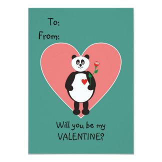 """Tarjeta del día de San Valentín del oso de panda Invitación 4.5"""" X 6.25"""""""