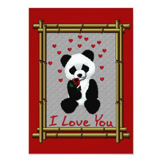 """Tarjeta del día de San Valentín del oso de panda Invitación 5"""" X 7"""""""
