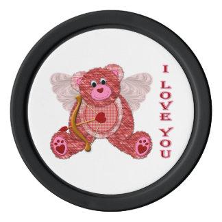 Tarjeta del día de San Valentín del oso del Cupid Fichas De Póquer