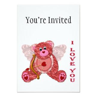 """Tarjeta del día de San Valentín del oso del Cupid Invitación 5"""" X 7"""""""