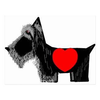 Tarjeta del día de San Valentín del perro del esco Tarjeta Postal