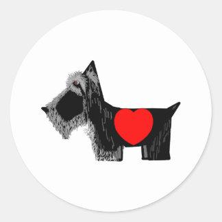 Tarjeta del día de San Valentín del perro del Pegatina Redonda