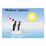 tarjeta del día de San Valentín del pingüino, lo q