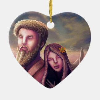 Tarjeta del día de San Valentín del planeta Adorno Navideño De Cerámica En Forma De Corazón
