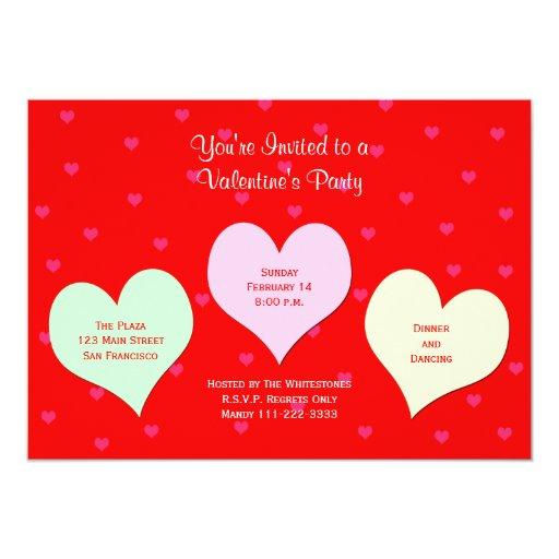 """Tarjeta del día de San Valentín del rojo de la Invitación 5"""" X 7"""""""