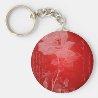 Tarjeta del día de San Valentín del rosa rojo Llavero Redondo Tipo Pin
