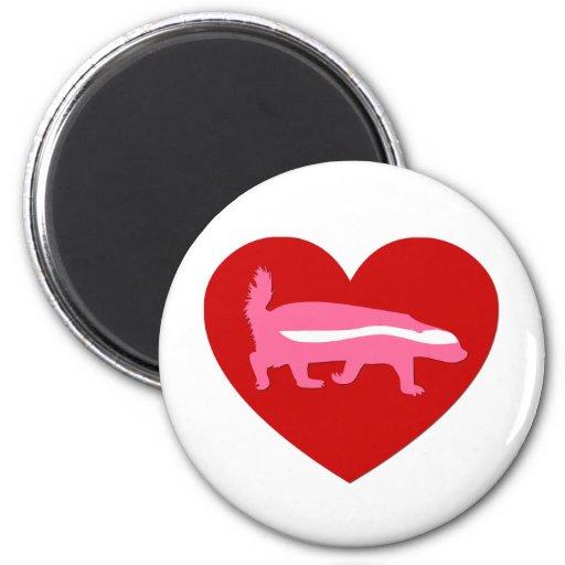 tarjeta del día de San Valentín del tejón de miel Imán Redondo 5 Cm