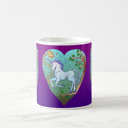 Tarjeta del día de San Valentín del unicornio Taza Básica Blanca