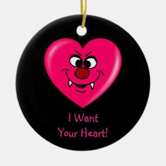 Tarjeta del día de San Valentín del vampiro: Déme Adorno Navideño Redondo De Cerámica