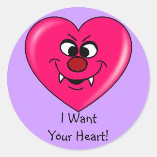 Tarjeta del día de San Valentín del vampiro: Déme Pegatinas Redondas