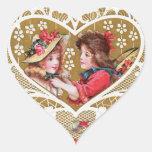 Tarjeta del día de San Valentín del Victorian del Pegatina En Forma De Corazón