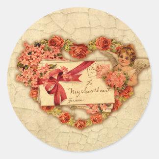 Tarjeta del día de San Valentín del Victorian Pegatina Redonda