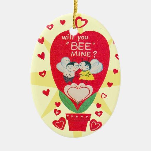 Tarjeta del día de San Valentín del vintage Adorno Navideño Ovalado De Cerámica
