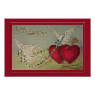 Tarjeta del día de San Valentín del vintage con lo Impresion Fotografica