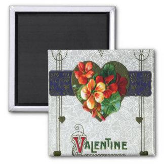 Tarjeta del día de San Valentín del vintage de las Imán Cuadrado