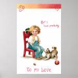 Tarjeta del día de San Valentín del vintage del mu Poster