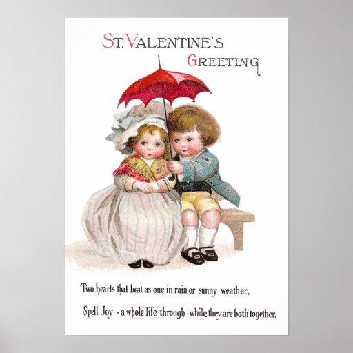 Tarjeta del día de San Valentín del vintage del Póster
