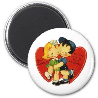Tarjeta del día de San Valentín del vintage Imán Redondo 5 Cm