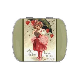 Tarjeta del día de San Valentín del vintage Frascos De Dulces
