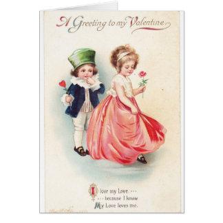 Tarjeta del día de San Valentín del vintage muchac