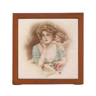 Tarjeta del día de San Valentín del vintage Portalápices