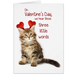 Tarjeta del día de San Valentín divertida del gati