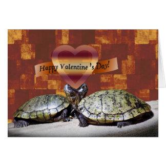 Tarjeta del día de San Valentín, dos tortugas,