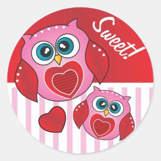 Tarjeta del día de San Valentín dulce del búho Pegatina Redonda