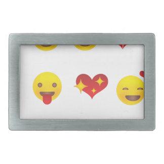 Tarjeta del día de San Valentín Emojis Hebilla De Cinturón Rectangular