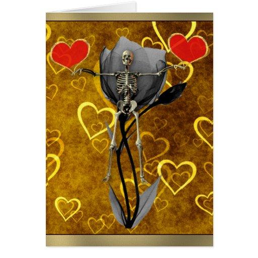 Tarjeta del día de San Valentín esquelética del am