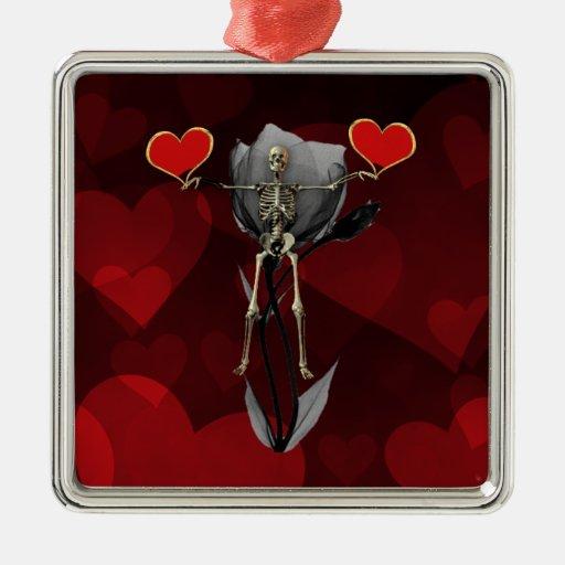 Tarjeta del día de San Valentín esquelética del Adorno Cuadrado Plateado