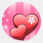 Tarjeta del día de San Valentín Etiqueta Redonda