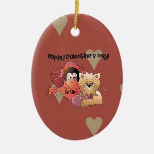 Tarjeta del día de San Valentín feliz Adorno Navideño Ovalado De Cerámica