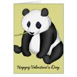 Tarjeta del día de San Valentín feliz de la panda