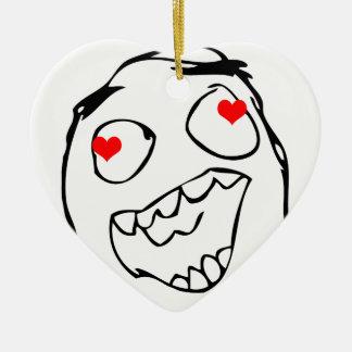 Tarjeta del día de San Valentín feliz del derp en Adorno De Cerámica En Forma De Corazón