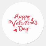 Tarjeta del día de San Valentín feliz Pegatina Redonda