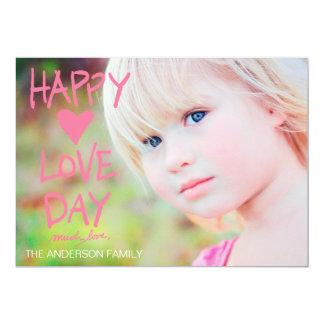 """Tarjeta del día de San Valentín feliz rosada del Invitación 5"""" X 7"""""""