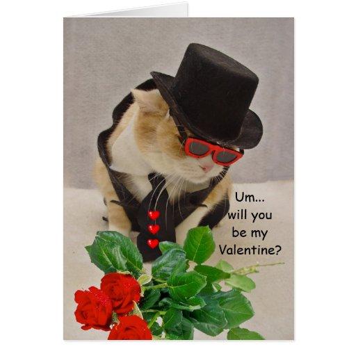 Tarjeta del día de San Valentín fresca del gato