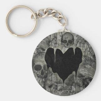 Tarjeta del día de San Valentín gótica del corazón Llavero Redondo Tipo Pin