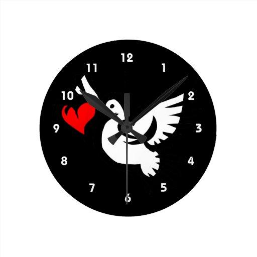 tarjeta del día de San Valentín gráfica del amor d Reloj Redondo Mediano
