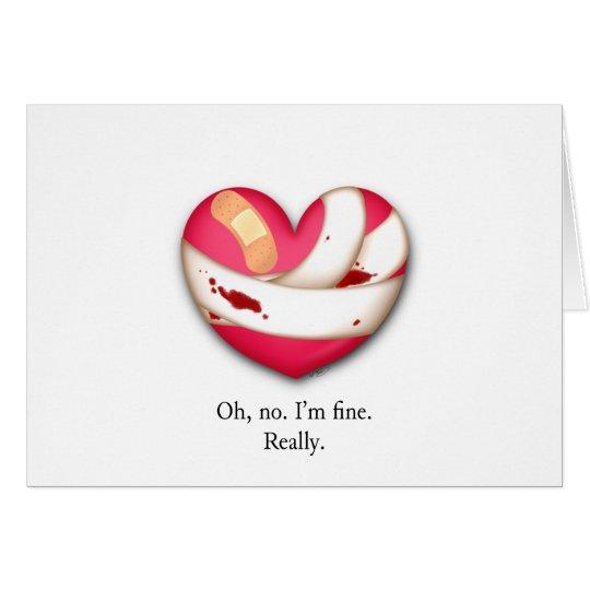 Tarjeta del día de San Valentín herida del corazón