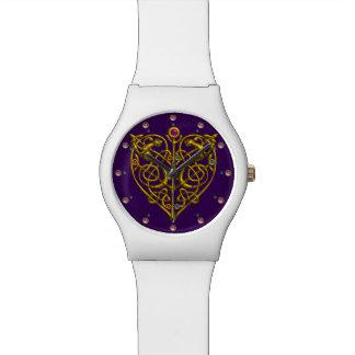 TARJETA DEL DÍA DE SAN VALENTÍN HÍPER, púrpura Reloj De Mano