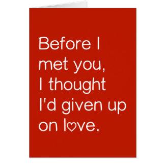 Tarjeta del día de San Valentín honesta