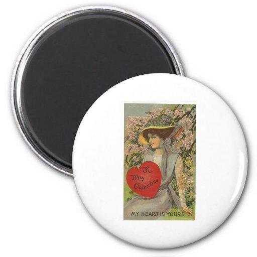 Tarjeta del día de San Valentín Imán Redondo 5 Cm