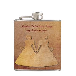 Tarjeta del día de San Valentín lesbiana de papel Petaca