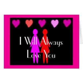 """Tarjeta del día de San Valentín lesbiana """"le amaré"""