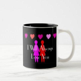 """Tarjeta del día de San Valentín lesbiana """"le amaré Taza De Dos Tonos"""