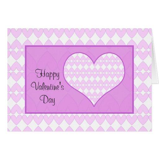 Tarjeta del día de San Valentín - lila y corazones
